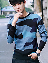 Men's Going out Regular Pullover,Print Round Neck Long Sleeves Cotton Winter Medium Micro-elastic
