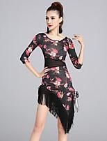 Latin Dance Dresses Women's Performance Ice Silk Tassel(s) Pattern/Print 1 Piece Half Sleeve Natural Dresses