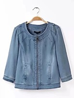 Women's Going out Casual/Daily Simple Spring Fall Denim Jacket,Solid Round Neck Long Sleeve Regular Others