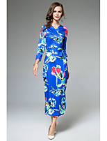 SHE IN SUN Women's Casual/Daily Work Street chic Sophisticated Bodycon Sheath DressFloral V Neck Maxi Long Sleeves Polyester Fall Mid Rise