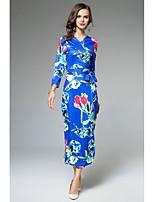 Attillato Fodero Vestito Da donna-Casual Ufficio Moda città Sofisticato Fantasia floreale A V Maxi Manica lunga Poliestere Autunno A vita
