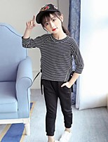 Girls' Stripe Sets,Cotton Spring Fall Long Sleeve Clothing Set