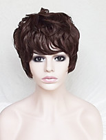 Women Synthetic Wig Capless Short Natural Wave Dark Auburn With Bangs Party Wig Natural Wigs Costume Wig