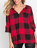 Women's Going out Casual/Daily Vintage Street chic Spring Fall T-shirt,Plaid V Neck 3/4 Length Sleeves Polyester Medium