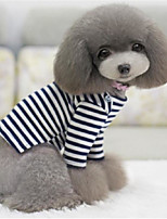 Dog Shirt / T-Shirt Dog Clothes Casual/Daily Stripe White/Black