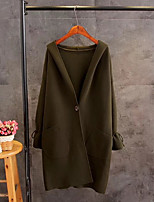 Women's Going out Casual/Daily Simple Street chic Spring Fall Trench Coat,Solid Letter Hooded Long Sleeve Long Silk Cotton Others