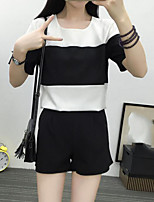 Women's Casual/Daily Simple Summer T-shirt Pant Suits,Striped Round Neck Short Sleeve