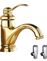 Contemporary Deck Mounted Ceramic Valve Single Handle One Hole for  Ti-PVD , Bathroom Sink Faucet