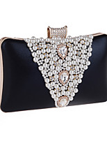 Women Bags All Seasons Polyester Evening Bag Appliques Crystal Detailing Pearl Detailing for Wedding Event/Party Gold Black Silver Purple