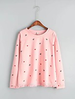 Women's Going out Casual/Daily Sexy Simple Street chic Spring Fall T-shirt,Solid Print Round Neck Long Sleeves Cotton Others Thin Medium
