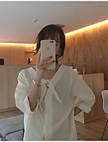 Women's Going out Cute Spring Summer Shirt,Solid V Neck 3/4 Length Sleeves Linen Thin