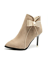 Women's Shoes Nubuck leather Spring Fall Comfort Boots Stiletto Heel Pointed Toe Booties/Ankle Boots Bowknot Zipper For Casual Dress