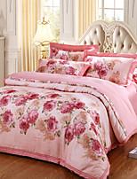 Duvet Cover Sets Floral 4 Piece Cotton Jacquard Cotton 1pc Duvet Cover 2pcs Shams 1pc Flat Sheet