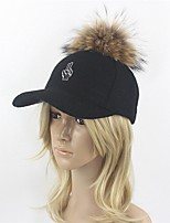 Women Wool Wool Blend Raccoon Fur Floppy Hat Ski Hat Baseball Cap Sun Hat,Hat Hats Solid Fall Winter Pure Color Embroidered