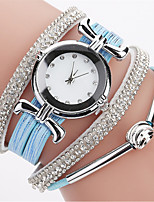 Women's Fashion Watch Simulated Diamond Watch Bracelet Watch Chinese Quartz Imitation Diamond PU Band Bohemian Elegant Casual Black White