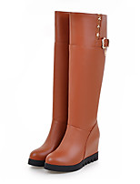 Women's Shoes PU Fall Winter Comfort Novelty Fashion Boots Boots Wedge Heel Pointed Toe Mid-Calf Boots Rivet Buckle For Office & Career