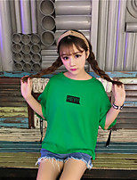 Women's Going out Cute Summer T-shirt,Solid Letter Round Neck Half Sleeves Cotton Thin