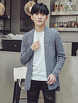 Men's Beach Regular Cardigan,Solid Round Neck Long Sleeves Others Spring Fall Medium Micro-elastic