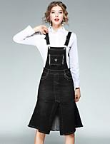 Damen Solide Street Schick Ausgehen Lässig/Alltäglich Shirt Rock Anzüge,Hemdkragen Herbst Lange Ärmel Jeansstoff Unelastisch