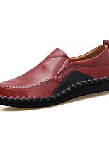 Men's Shoes Leatherette Fall Winter Comfort Loafers & Slip-Ons Split Joint For Casual Wine Brown Black