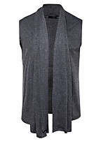 Men's Going out Casual/Daily Simple Regular Cardigan,Solid Cowl Neck Sleeveless Cotton Spring Fall Medium Stretchy