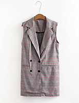 Women's Going out Casual/Daily Simple Street chic Spring Fall Vest,Houndstooth Shirt Collar Sleeveless Long Cotton Others