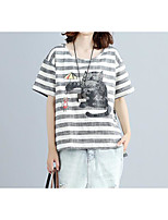 Women's Going out Casual/Daily Simple Summer T-shirt,Striped Round Neck Short Sleeves Cotton Linen Thin