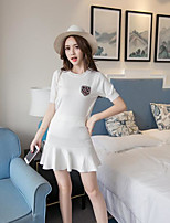 Women's Going out Simple Summer T-shirt Skirt Suits,Print Round Neck Short Sleeve