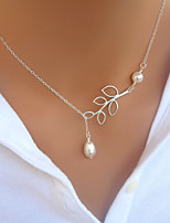 Women's Pendant Necklaces Leaf Imitation Pearl Alloy Elegant Jewelry For Party Daily