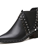Femme Chaussures Cuir Nappa Printemps Automne boîtes de Combat Bottes Talon Bas Bout pointu Strass Pour Noir