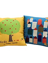 2 pcs Cotton/Linen Pillow Case Bed Pillow Body Pillow Travel Pillow Sofa Cushion Novelty Pillow,Pattern Mixed Color printing Artistic