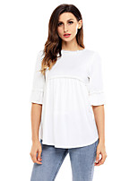 Women's Going out Casual/Daily Cute Fall T-shirt,Solid Round Neck Half Sleeves Polyester Spandex Medium