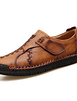 Men's Shoes Cowhide Fall Winter Moccasin Loafers & Slip-Ons Magic Tape For Casual Dark Brown Light Brown Black
