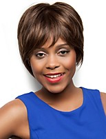 Women Synthetic Wig Capless Short Straight Brown African American Wig Layered Haircut With Bangs Natural Wigs Costume Wig