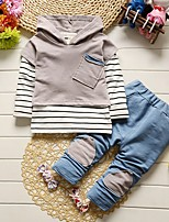 Girls' Stripe Others Solid Sets,Cotton Spring Fall Long Sleeve Clothing Set