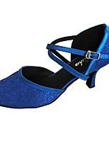 Da donna Danza moderna Raso Lustrini Sandali Per interni Tacco su misura Nero Rosso Verde blu navy