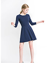 Women's Going out Simple A Line Dress,Solid Round Neck Above Knee Long Sleeves Rayon Fall Mid Rise Micro-elastic Medium