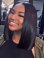 Donna Parrucche di capelli umani con retina Brasiliano Cappelli veri 360 frontale 130% Densità Con ciuffetti Lisci Parrucca Nero