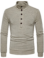 cheap -Men's Daily Regular Cardigan,Solid Turtleneck Long Sleeves Japanese Cotton Spring Fall Opaque Micro-elastic
