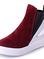 Women's Shoes Fabric Fall Winter Comfort Bootie Boots Wedge Heel Round Toe Zipper For Casual Dress Black Wine