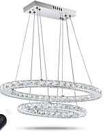 Dimmable LED Crystal Oval Pendant Lights Lamps Fixtures Crystalline Light 2 Ring Indoor Cristal Lighting Modern Lustre Lamps with Remote Control