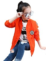 Girls' Stripes Jacket & Coat,Polyester Fall All Seasons Long Sleeve