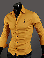 Men's Going out Casual/Daily Sexy Vintage Simple Spring Fall Polo,Solid Classic Collar Long Sleeves Cotton Thin