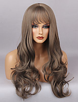 Women Synthetic Wig Capless Long Very Long Wavy Grey With Bangs Natural Wigs Costume Wig