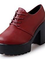 Mujer Zapatos PU Otoño Botas de Combate Botas Tacón Robusto Dedo redondo Con Cordón Para Casual Negro Borgoña