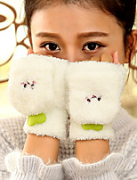 Women's Wool Cotton Wrist Length Half Finger,Accessories Casual Cartoon Winter Gloves Keep Warm Lovely Fashion Solid Fall Winter