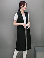 Women's Casual/Daily Simple Fall Vest,Solid Peaked Lapel Sleeveless Long Nylon