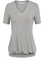 Women's Going out Casual/Daily Work Sexy Vintage Simple Summer Fall T-shirt,Solid V Neck Short Sleeves Spandex Medium