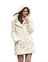 Women's Going out Casual/Daily Simple Fall Winter Fur Coat,Solid Hooded Long Sleeve Long Faux Fur Acrylic