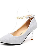 Women's Shoes PU Spring Fall Comfort Heels Stiletto Heel Pointed Toe Imitation Pearl For Party & Evening Dress Silver Black Gold
